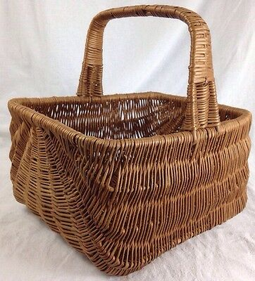 Vintage Woven Gathering Basket with Handle