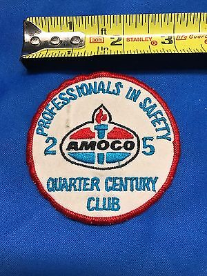 Vintage Amoco Safety 25yr Gas Service Station Uniform Shirt Embroidered Patch