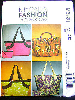 6131 MCCALLS Misses Lined Bags Tote Purse Cases Wristlet Purse Pattern UC