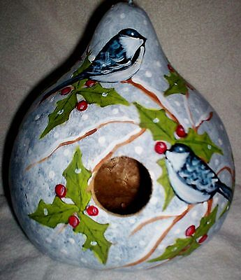 Chickadees, Holly, Berry Snow Scene Hand Painted gourd Birdhouse Christmas Gift