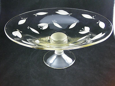 Etched Glass Large Compote Bowl On Pedestal