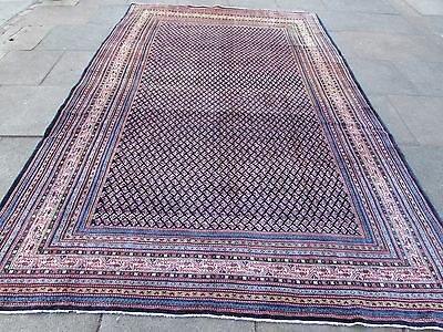 Old Traditional Hand Made Persian Rug Oriental Blue Wool Large Carpet 340x223cm
