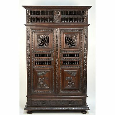 BEST Antique Chestnut French Country Brittany Figural Linen Armoire Bar Bookcase