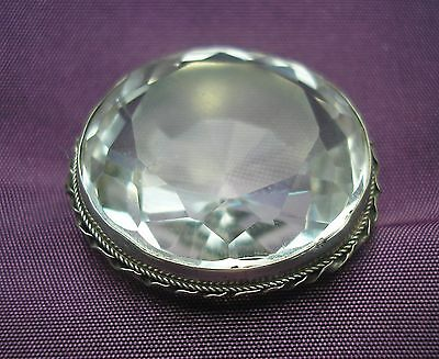 Beautiful antique Victorian Silver brooch with large faceted Rock Crystal stone