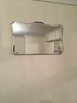 Vintage Very Art Deco frameless Wall Mirror With Chain