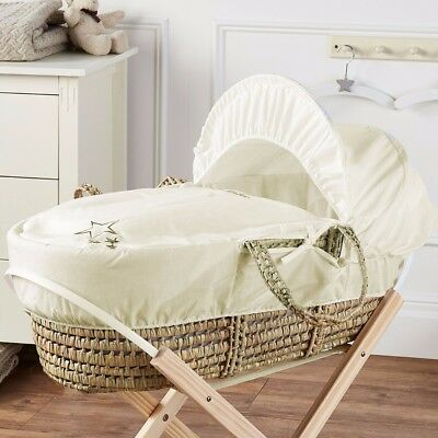 Brand New-My Little Star Moses Basket With Mattress And Bedding Cream