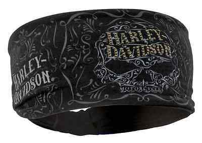 Harley Womens Studded Ornate Willie G Skull Knotted Black Cotton Headband