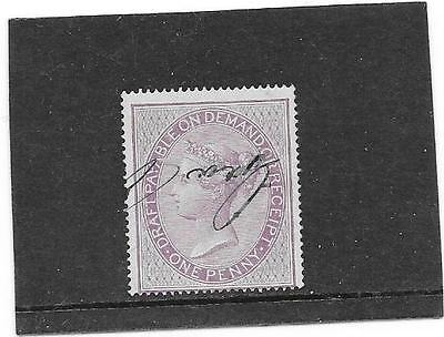 """STAMPS: G.B. 1800s  VICTORIAN """"1d LILAC"""" RECEIPT STAMP (USED)"""