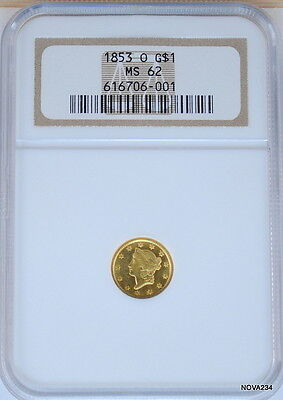 1853 O G$1 Gold Liberty Head Dollar Ngc Ms 62 New Orleans