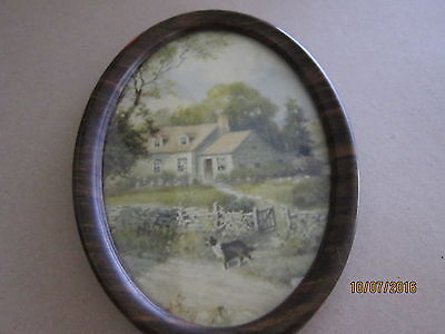 Antique OVal Frame and Picture Shetland Sheepdog Home Dog Sheltie