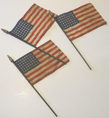 3 Vintage 48 Star American USA Linen Parade Flags