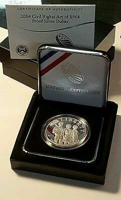 2014 P Civil Rights Act Of 1964 Silver Proof Dollar Coin ~ Mint