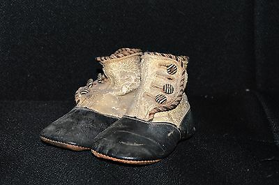 Early 1900s Antique Primitive Button up child SHOES boots for Doll or bear baby