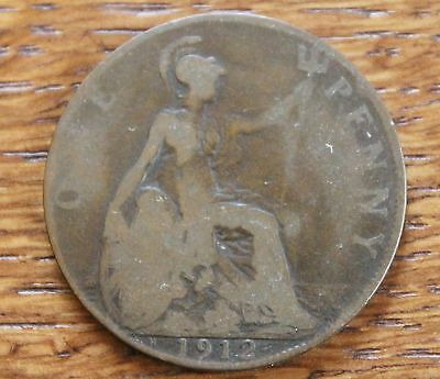 Vintage GB  Coin – 1912H – One Penny – Scarce Date with Heaton Mintmark – (J1)