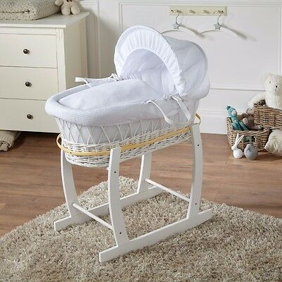 Brand New-White Waffle White Wicker Moses Basket With White Rocking Stand