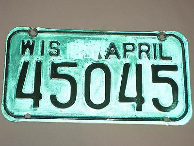Wisconsin Motorcycle license plate April 1985