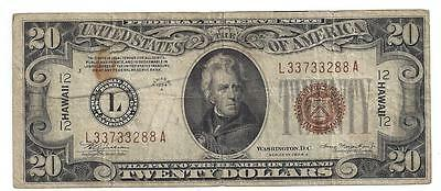 Series 1934 A $20 HAWAII Federal Reserve Note  FINE