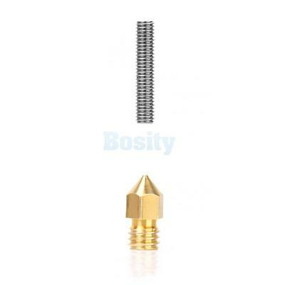 M6 Stainless Steel Nozzle Throat + 0.4mm Extruder Nozzle MK8 for 3D Printer