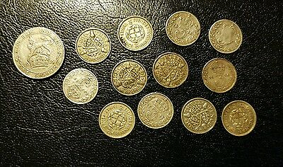 Lot of 12 Silver Three Pence coins and 1 Silver Shilling 1915-1940