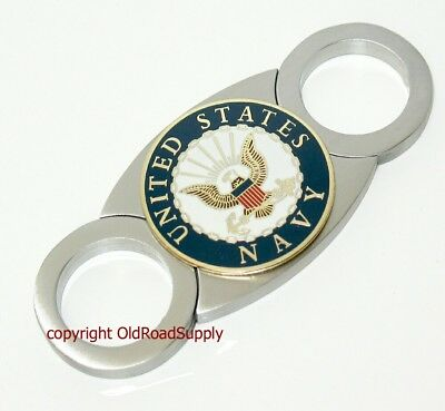 Old Road XL Emblem US Navy Stainless Cigar Cutter Carry Pouch