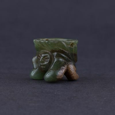 Pre Columbian-Small Mayan Fire God  Jade Amulet Pendant-Antique -Authentic
