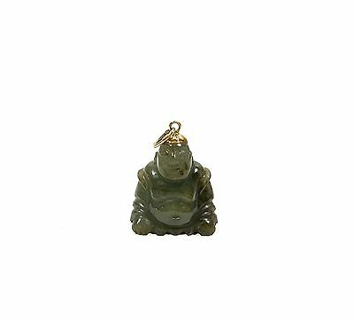 Antique Chinese 14K Gold Carved Jade Buddha Pendant