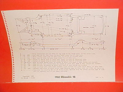 1968 Oldsmobile 98 Convertible Holiday Coupe Town Sedan Frame Dimension Chart