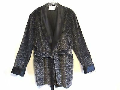 Vtg Mens Cotton & Rayon Robe Smoking Leisure Grey & Black Paisley Jacket sz XL