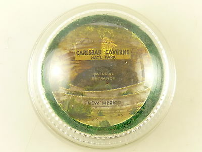 Vintage Carlsbad Caverns National Park New Mexico Advertising Glass Paperweight