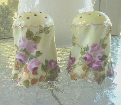 Estate ~ Antique Hand Painted Salt & Pepper Shakers PINK ROSES  Round Gold Trim