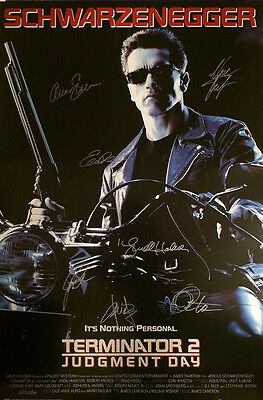 Terminator 2 Movie Poster Signed Cast Rare Collectible
