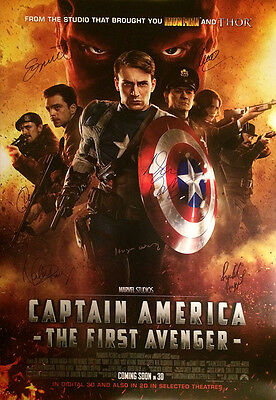Captain America: The First Avenger Movie Poster Signed Cast Double Sided