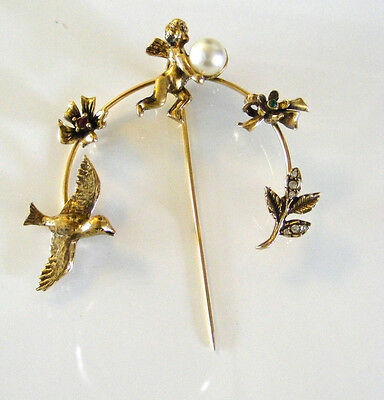 Art Deco Flying Dove, Flower and Cerub with Pearl Stick Hat Pin Gold Gilded