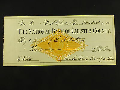 Antique Vintage 1882 National Bank of Chester County West Chester PA Bank Check