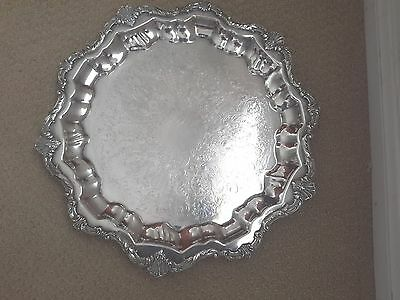 VINT Wallace WAVERLEY silver plate ornate footed serving cake tray apprx 14 1/2""