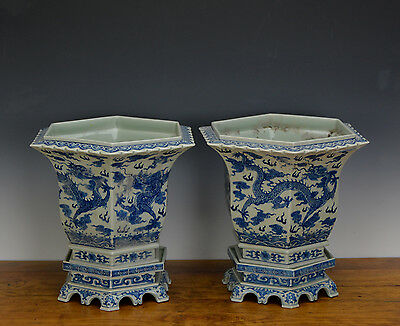 Fine Pair of Chinese Qing Qianlong Blue White Dragon 6 Side Porcelain Flower Pot