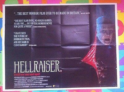 Hellraiser Original Uk Cinema Quad Poster Clive Barker - Reduced Price !!!