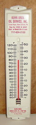 Vintage Metal Advertising Thermometer-Kuhn Bros. Oil Service; New Oxford, Pa