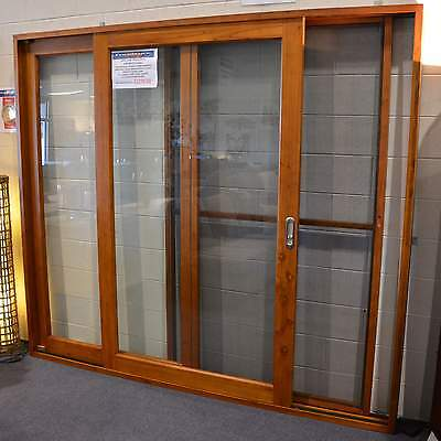 CEDAR SLIDING DOORS WITH FLY SCREEN, SOLID CEDAR TIMBER 2100W X 2100 in stock