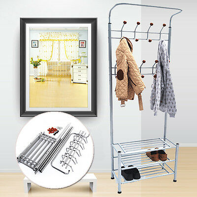 Metal Coat Stand Clothes Hooks Shoes Hat Umbrella Steel Pipe Hanger Silver Home