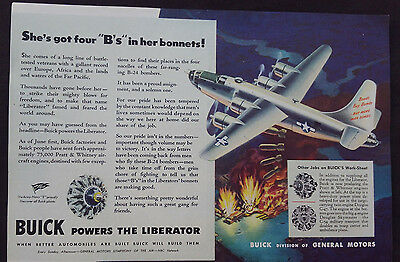 "1945 WWII ERA BUICK  ""BUICK POWERS THE LIBERATOR"" Ad ""4 B'S IN HER BONNETS"""