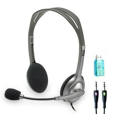 Logitech H110 Wired Over the Head Stereo Headset w/ FREE USB Adapter for PC MAC