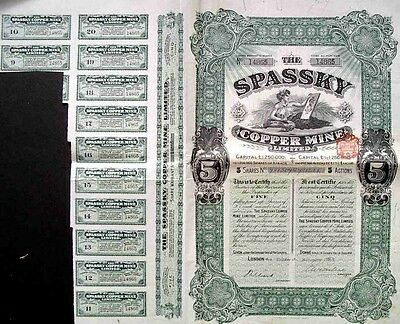 Russian Spassky Copper Mine Antique 5 Shares UNC Coupons Bond Loan Stock