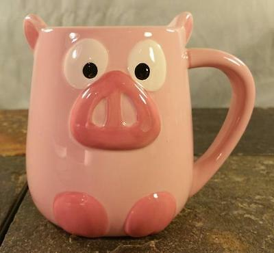 Pink Pig 3-D Piggy Figural Animal Hand Painted By Tag Coffee Tea Cocoa Mug Cup