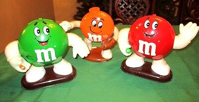 3 Vintage M & M Candy Dispensers, 2 Peanut With Waving Hand & 1 Baseball Player