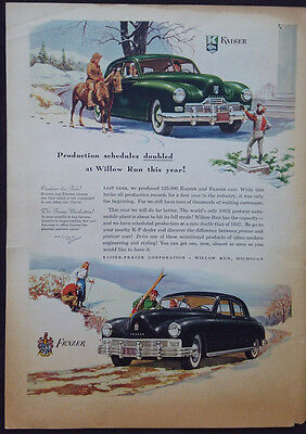 Vintage 1948 Kaiser Frazer Automobile  Farmers Wife Mag Post Wwii  Ad