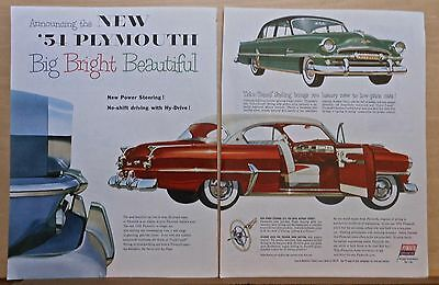 1953 two page magazine ad for Plymouth - Color Tuned Styling for 1954