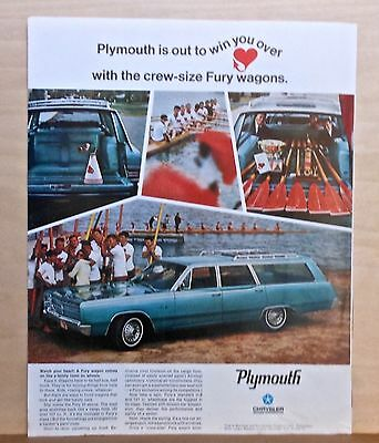 Vintage 1967 magazine ad for Plymouth - Fury Wagon, rowing crew photos