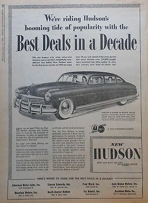 1949 newspaper ad for Hudson - Best Deals in a Decade, Leader in Resale value