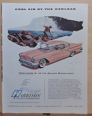 1957 magazine ad for Harrison Air Conditioning - pink Olds, Try long cool one